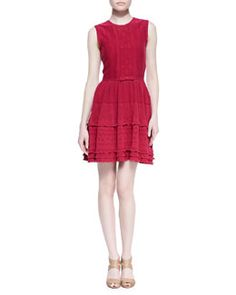 T7ZCG RED Valentino Embroidered Knit Dress, Bougainvillea