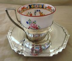 Ca.1900 Shreve Sterling Silver Saucer & Cup Holder with Minton Cup  200.00