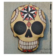 Compass Rose nautischen Stern Sugar Skull Tattoo Flash Tag für die Toten Verzierung - Original Volkskunst Skeleton - gedruckt und stopfte St...