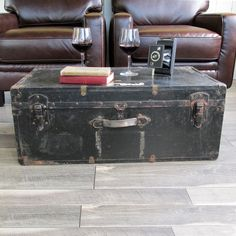 antique travel trunk, steamer trunk, coffee table trunk with hand
