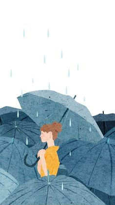 Fondo de pantalla lluvia mujer con paraguas Wallpaper rain woman with umbrella Art And Illustration, Art Illustrations, Kunst Inspo, Art Inspo, Anime Art Girl, Aesthetic Art, Cute Drawings, Drawing Sketches, Cute Wallpapers