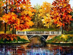Large Autumn Landscape - Fall Blinks — Palette Knife Oil Painting On Canvas By Leonid Afremov.