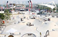 Everything's big in China these days, and the SMP park is no exception: the world's biggest skatepark with the world's biggest ramp and the biggest concrete bowl. With so much to skate, the only drawback might be that it's too overwhelming Concrete Bowl, Sustainable Development, Skate Park, World's Biggest, First World, Sustainability, Parks, Environment, Bucket