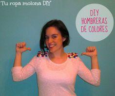 DIY: renueva un jersey con hombreras de pompones de colores