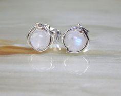 Moonstone Stud Earrings, Small Moonstone Post Earrings, Bridesmaids Earrings, Stud Earrings, Gift Ideas, Small Stud Earrings,