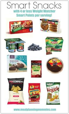 Healthy Recipes Smart Snacks with 4 or less Weight Watcher Smart Points of less per serving- Meal Planning Mommies - A list of over 60 quick and easy Weight Watchers snacks that are between Weight Watchers Smart Points on the WW FreeStyle program. Weight Watchers Snacks, Weight Watchers Tipps, Weight Watchers Smart Points, Weight Watcher Dinners, Weight Loss Snacks, Healthy Weight Loss, Weight Watchers Plan, Weight Watchers Products, Beach Snacks