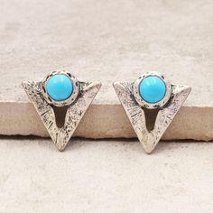 Nueva joyería de la vendimia plateado plata antigua de la turquesa de piedra triángulo stud regalo para muchacha de las mujeres al por mayor E2904