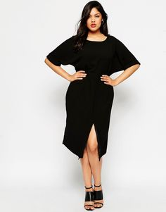 Image 4 ofASOS CURVE Plain Wiggle Cut Out Back Dress