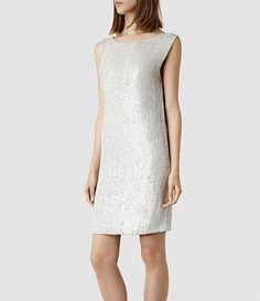 Womens Gwen Dress (Oyster) | ALLSAINTS.com