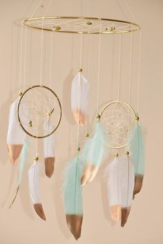 Dreamcatcher mobile, boho nursery decor, cottage chic decor, mint and white Boho Nursery, Woodland Nursery, Girl Nursery, Nursery Decor, Nursery Ideas, Room Ideas, Decor Ideas, Dream Catcher Mobile, Large Dream Catcher