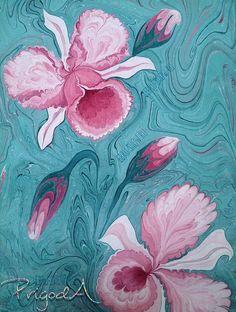 Эбру (рисование на воде), минеральные пигменты, х/б холст, 30х40 см из альбома «Мои эбру цветы»