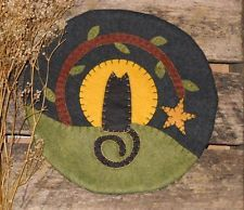 Primitive Halloween Night Moon & Black Cat Penny Rug ~ Fall Candle Mat