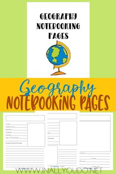 This Geography Notebooking set includes pages for city, country and continent, so it can be used in both US Geography and World Geography. Geography Activities, World Geography, Teaching Geography, Homeschool High School, Homeschool Curriculum, Online Homeschooling, Middle School Geography, Printable Activities For Kids, History Education
