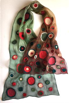 Nuno Felted silk chiffon scarf in green red gradation. Ombre scarf with felted dots, dots scarf, geometric scarf, transitional scarf, gift mom Clothing Gift Birthday gift for mom, Gift for her, Fashionista gift, New collection of Felted scarf 2017 ♣dimension is 17 by 70 inches ♣material-