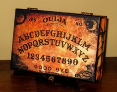 Ouija Box. Think I'll make one... - Séance, Seance, Board, Spiritualist, Mystifying, Oracle, Talking Board, Occult, Fortune Telling, Halloween, Horror, Ghost, Victorian, Spirit, Planchette, Witchboard, Automatic Writing, Witch, Witchcraft, Craft, Dead, Possession, Devil, Divining, Elijah Bond, Elijah H. Bond, Nirvana, Magic, Egyptian Luck Board, Mysticism, Occultism, Pythagoras, Clairvoyance, ESP, Seers, Psychics, Captain Howdy, Channeling, Alphabet, Ouija, Ouija Board, Ouija Bored,