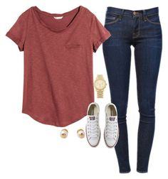 A fashion look from October 2015 by typical-lizzie featuring H&M, Frame Denim, Converse, Michael Kors and Tory Burch
