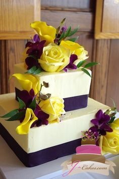 Wedding Cakes - why not pick up this dazzling article, pin reference 9345187780 here. Square Wedding Cakes, Purple Wedding Cakes, Wedding Cake Photos, Unique Wedding Cakes, Unique Cakes, Wedding Cake Designs, Yellow Wedding, Beautiful Cakes, Amazing Cakes