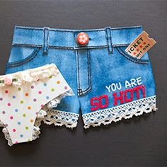 Paper denim shorts! This is the fun summer card. Once you get this handmade card, you will WOW! Lots of card inspiration here.