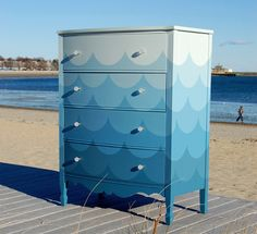 Chroma Lab- amazing hand painted scalloped ombré dresser.  Can you be in love with a piece of furniture?  I am!