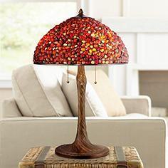 Robert Louis Tiffany Dark Amber Agate Table Lamp