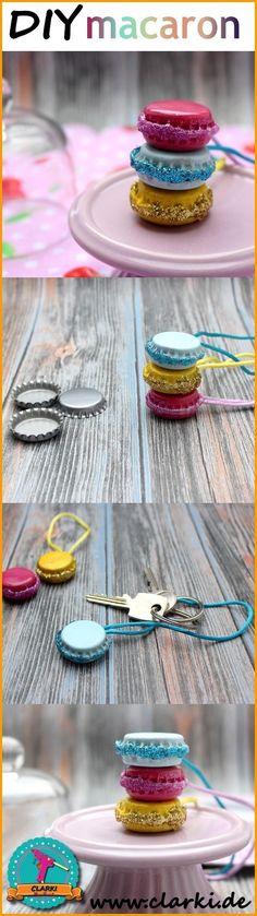 DIY Macaron Anhänger einfach selber machen. Aus Kronkorken, Nagellack und Co. kannst du süße Accessoires im Macaron-Design herstellen. Mehr Infos auf www.clarki.de