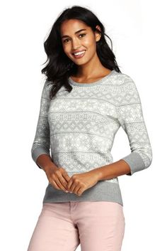 Women's Supima 3/4 Sleeve Jacquard Sweater from Lands' End