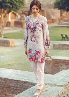 Pakistani dress design - Cross Stitch Pima cotton lawn Eid suit with digital print Pakistani Formal Dresses, Pakistani Dress Design, Pakistani Outfits, Indian Dresses, Eid Dresses, Fashion Dresses, Simple Dresses, Casual Dresses, Sleeves Designs For Dresses