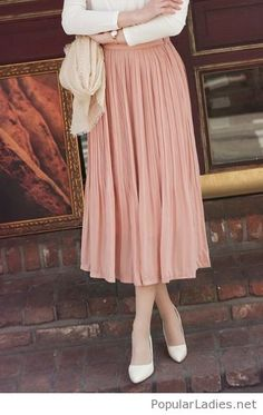long-pink-skirt-with-a-white-blouse-and-more