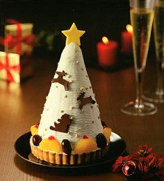 Christmas cake in Japan.   A conic Xmas tree cake.