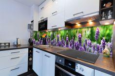 Modern kitchen with spotlights. Modern white and purple kitchen interior , Purple Kitchen Interior, Interior Design Kitchen, Interior Decorating, Kitchen Backsplash Inspiration, Coloured Glass Splashbacks, Glas Art, Kitchen Sale, Kitchen Installation, Glass Kitchen