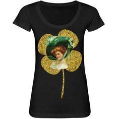 #VintageLady #GoldenClover #BlackScoopneckTshirt by #MoonDreamsMusic