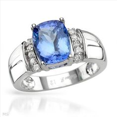 Superb Brand New Ring With 3.65ctw Precious Stones - Genuine  Clean Diamonds and Tanzanite Made of 14K White Gold. Total item weight 5.6g - Size 7 - Certificate Available.