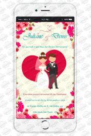 Convite Virtual de Casamento Coração para envio por WhatsApp. Apenas 18,00, compre em nosso site www.whatsappconvites.com.br