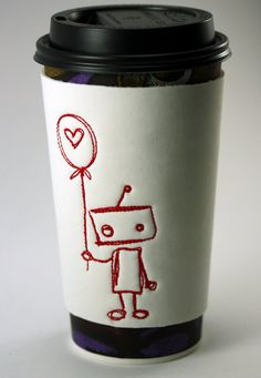 Love Robot White Neoprene Coffee Cup Cozy by LordSewNSew on Etsy, $7.00