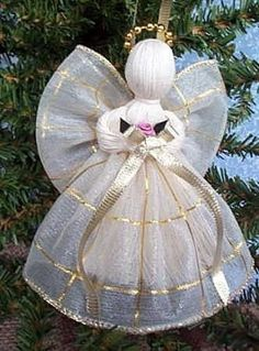 New 4 assorted ribbon angels for christmas tree! handmade! victorian ...