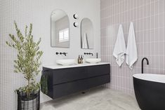 The Block 2020: Master Ensuite Reveals Pink Tiles, Grey Tiles, White Tiles, Reece Bathroom, Ensuite Room, Smart Toilet, Stone Look Tile, Black Bath, Arch Mirror
