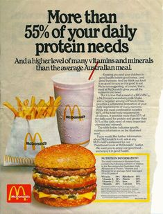 Vintage McDonald's ad circa 1980 just after McDonald's first opened in Australia