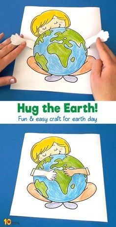 For Girls Girl Hugging Earth Printable Craft Kids Crafts, Fun Easy Crafts, Crafts For Girls, Preschool Activities, Earth Craft, Earth Day Crafts, Printable Crafts, Printables, Preschool Crafts
