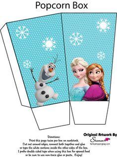 Popcorn Box, Frozen, Favor Box - Free Printable Ideas from Family Shoppingbag.com