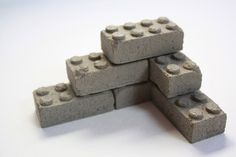 "Concrete Building Blocks Set of 6 by studio1015 on Etsy, $9.00--how fun would these be as ""decorations"" (backyard by hoop, that is ;)) outside?"
