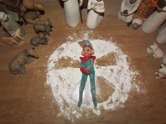 """Elf"" angel with flour and glitter!"
