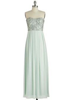 Mint Magnificence Dress - Mint, Solid, Lace, Pleats, Sequins, Special Occasion, Prom, Pastel, Maxi, Strapless, Sweetheart, Summer, Woven, Wedding, Bridesmaid