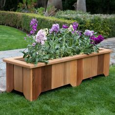 Wood Country Rectangle Cedar Wood Pocatello Planter - Set of 2 - Give your plant collection the perfect home with the Pocatello Cedar Planter - Set of These cedar planters work well for bordering an outdoor patio. Cedar Planters, Wooden Planters, Outdoor Planters, Planter Boxes, Planter Box Plans, Pallet Planters, Lawn And Garden, Garden Pots, Herbs Garden