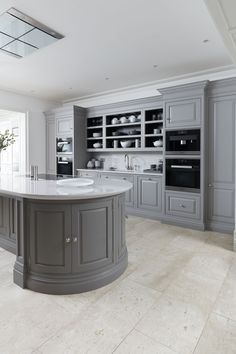 Designing a Kitchen with Curves - Der Kern by Miele Kitchen Layouts With Island, Grey Kitchen Island, Modern Kitchen Cabinets, Kitchen Themes, Home Decor Kitchen, Glass Kitchen, Kitchen Interior, Tom Howley Kitchens, Grey Kitchen Designs