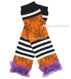 Halloween Orange Ruffles Black White Dot Girl Cotton Kid Baby Leg Warmer Legging