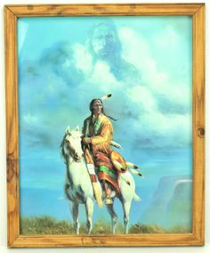 Vintage Native American Indian Warrior on Horse with Spirit in Clouds Framed Art  #weboys10