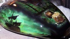 Custom motorcycle paint, Pirate Theme Tank