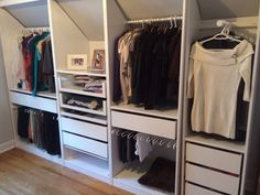#ikea pax wardrobe custom cut to fit sloped wall. Like second panel with shelf to display jewellery