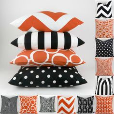 Halloween Pillow Covers -MANY SIZES- Black Orange Mix/Match patterns cushion sham euro throw modern bold halloween decor Premier Prints by DeliciousPillows on Etsy https://www.etsy.com/ca/listing/218834271/halloween-pillow-covers-many-sizes-black