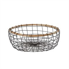 Reedsville Round Wire Centerpiece Table Basket Round Basket, Natural Home Decor, Cleaning Wipes, Farmhouse Decor, Decorative Bowls, Bamboo, Centerpieces, Household, Wood